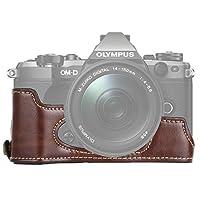 カメラアクセサリー Olympus EM5 / EM5 Mark II用1/4インチスレッドPUレザーカメラハーフケースベース カメラアクセサリー (色 : Coffee)