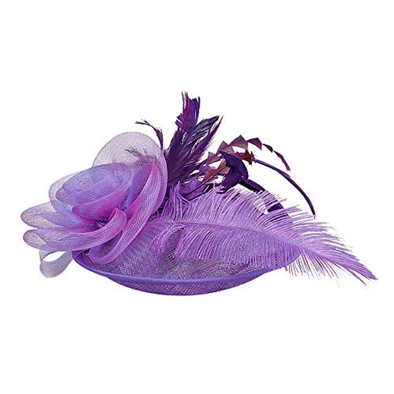 Merssavo 英国スタイルのブライダル帽子、女性のエレガントな花の羽のベールの帽子ヴィンテージリネンティアラヘアアクセサリードレス帽子、1#