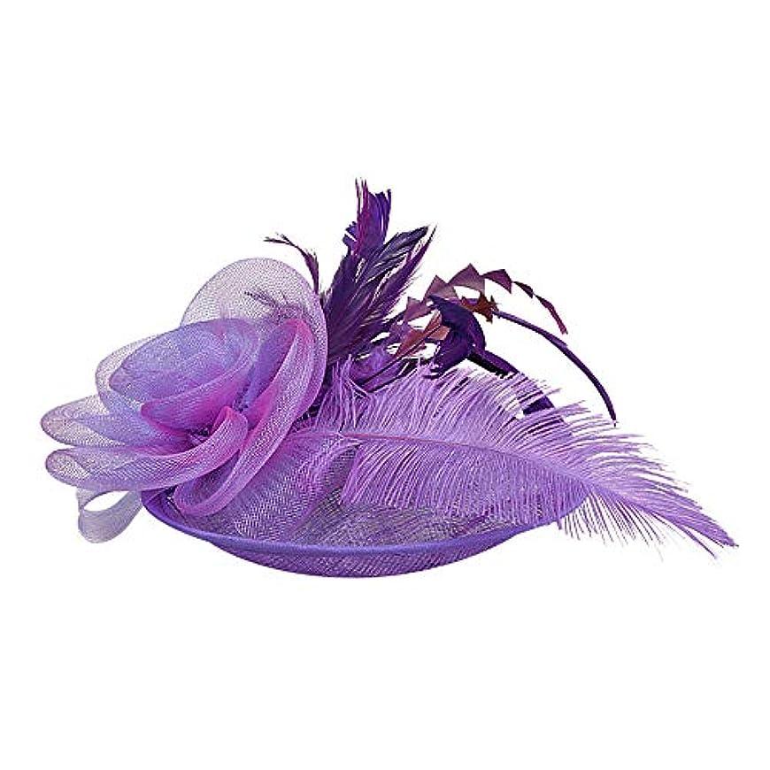 従順カスケード広々としたMerssavo 英国スタイルのブライダル帽子、女性のエレガントな花の羽のベールの帽子ヴィンテージリネンティアラヘアアクセサリードレス帽子、1#