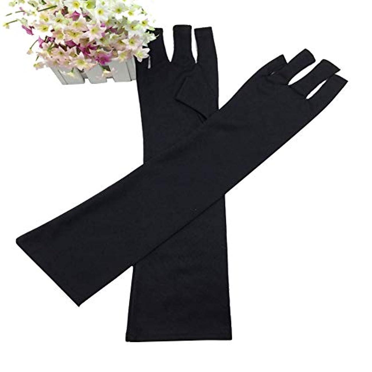 二週間行方不明妥協slQinjiansavネイルアート&ツール手袋UV光ランプ放射線保護手袋ハンドレストマニキュアネイルアートツール - ブラック