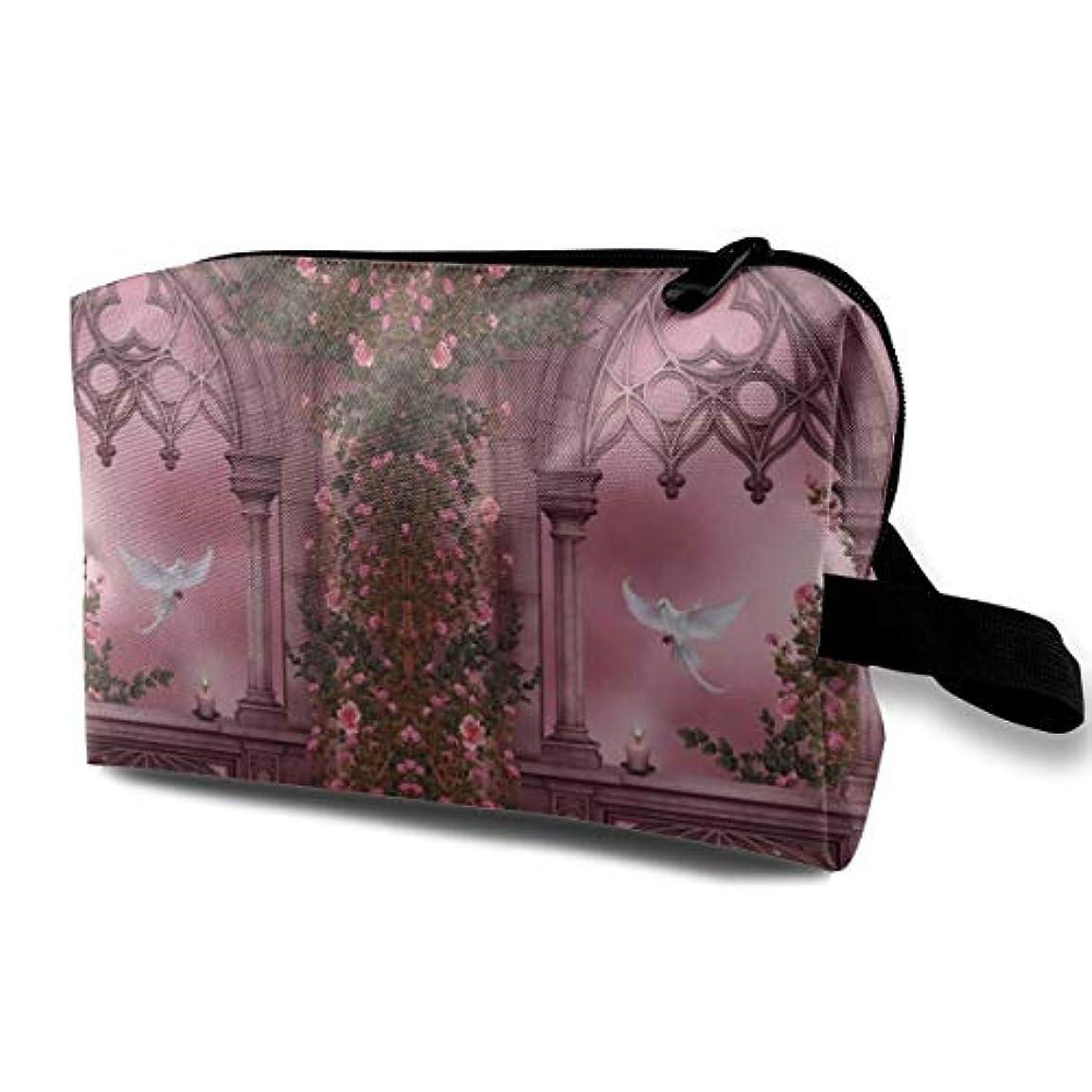 フェリーさまよう昆虫Rose Floral Arches Stone Door 収納ポーチ 化粧ポーチ 大容量 軽量 耐久性 ハンドル付持ち運び便利。入れ 自宅?出張?旅行?アウトドア撮影などに対応。メンズ レディース トラベルグッズ