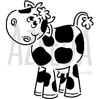 A3 「かわいい牛」ウォールステンシル/テンプレート (WS00027142)