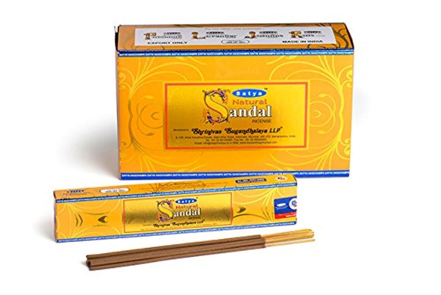詳細にマイクロ黒板SatyaナチュラルChandan Incense Sticks 15グラムパック、12カウントin aボックス