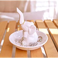 PUDDING CABIN Elephant Ring Holder Ring Dish - Jewelry Tray Wedding Christmas Birthday Gift,White