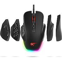 HAVIT ゲーミングマウス 高精度 プログラマブル 4000DPI 7ボタンRGBバックライト、コ…