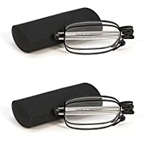 YouPei® 2 Pair Reading Glasses Black Readers Compact Folding Unisex Glasses with Reading Glasses Case