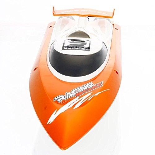 GPTOYS FTOO9 2.4Gラジコンボート 高速ラジコン船 RCスピードボート 安全ストップ機能付 自動起き上がる 対戦レース 防水仕様(ボート本体)初心者にも適合!オレンジ