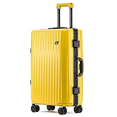 ボンイージ(bonyage) スーツケース アルミフレーム 耐衝撃 キャリーケース 機内持込 キャリーケース 軽量 キャリーバッグ 人気 大型 TSAロック付き 静音 旅行出張 サメの歯形 1年保証 イエロー Yellow Sサイズ 約37L