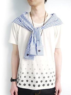 (モノマート) MONO-MART 4色 ドット柄 半袖 カットソー Tシャツ メンズ