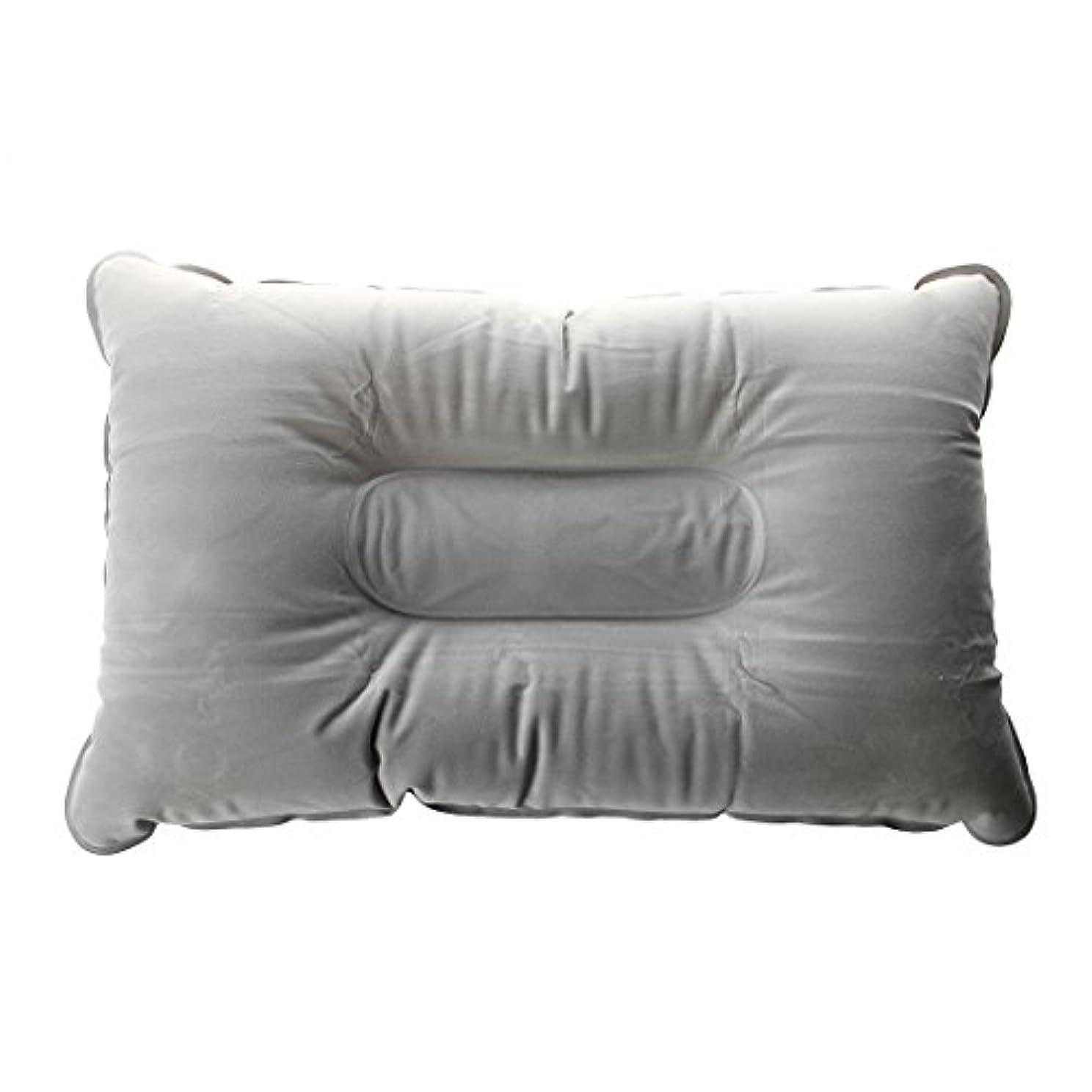 TOOGOO ダブルフェイス+インフレータブル枕 クッション マット キャンプ ピクニックの為 灰色 40 * 25cm