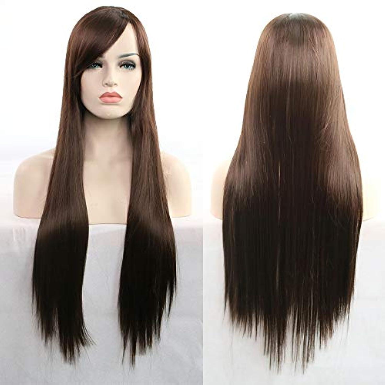 走る無線契約した女性用ロングナチュラルストレートヘアウィッグ31インチ人工毛替えウィッグハロウィンコスプレ衣装アニメパーティーウィッグ(ウィッグキャップ付き) (Color : Dark brown)