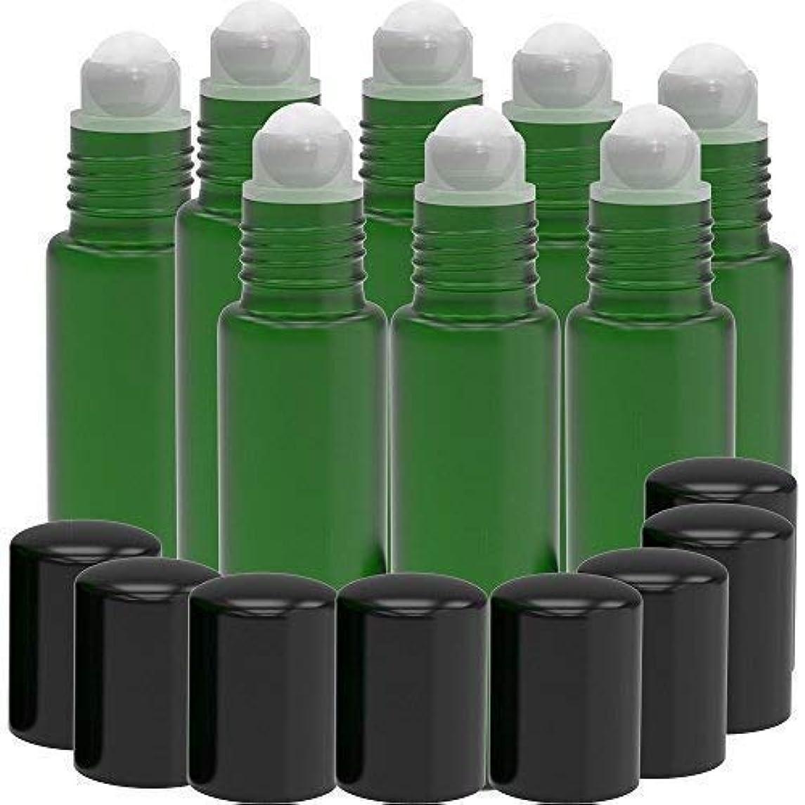 発表曲がったテクスチャー8 Pack - Essential Oil Roller Bottles [PLASTIC ROLLER] 10ml Refillable Glass Color Roll On for Fragrance Essential...