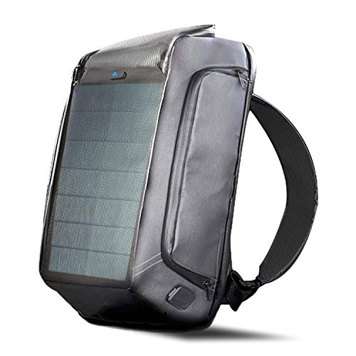 MECOI ソーラーパネル リュック バックパック ガジェット収納力 通勤 通学 出張 旅行 間にスマホを充電 多機能 人気 防水 便利グッズ USBポ一ト (black)