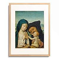 作者不明 (Meister des Bartholomäus-Altars) 「Die Heilige Familie. 15./16. Jahrhundert.」 額装アート作品