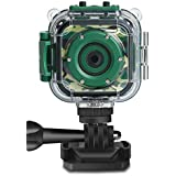 [Upgraded]Kids Camera, DROGRACE Kids Sports Action Camera Waterproof 1080P Digital Video Camcorder for Boys Christmas Birthday Holiday Gift Toy Build-in Game(Green)