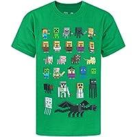 Minecraft Sprites Boy's T-Shirt (Black Blue Green Purple White) (7-8 Years, Green)