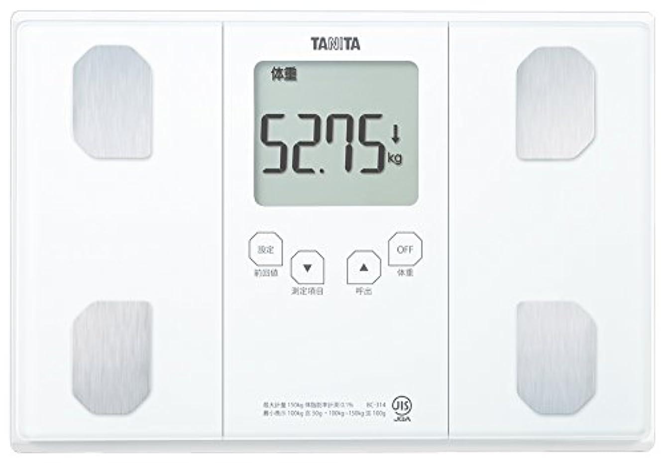 コンピューターブラウス鋼タニタ 体重 体組成計 50g ホワイト BC-314 WH 自動認識機能付き/立掛け収納OK