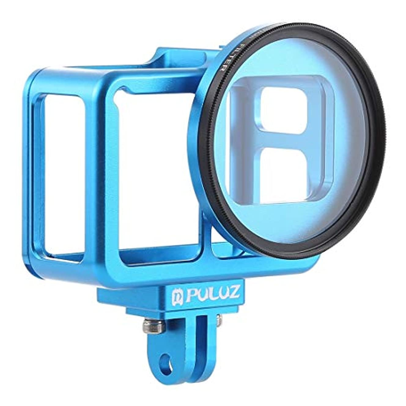 劇的関係する脳PL ハウジングシェル CNCアルミニウム合金保護ケージ 保護フレーム 52mm UVレンズ GoPro HERO7 ブラック / 6 / 5 (ブラック) (カラー:ブルー)