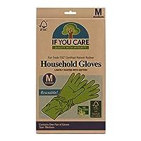 海外直送品Household Gloves Latex Cotton Flock Lined, Medium 1 PAIR by If You Care