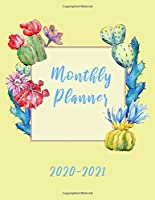 Monthly Planner 2020-2021: Calendar to write on, yellow with cactus on cover