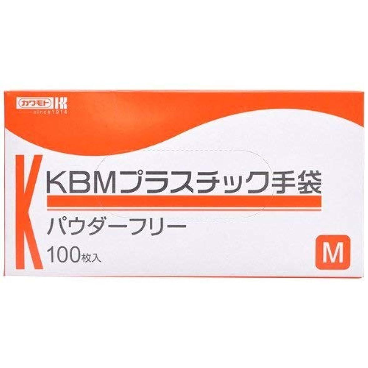 線形見ましたコンペ川本産業 KBMプラスチック手袋 パウダーフリー M 100枚入 ×2個