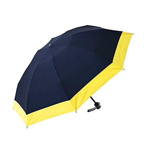【Rose Blanc】100%完全遮光 日傘 コンビ(傘袋付) 3段折りたたみ 50cm (ネイビー×イエロー)
