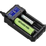 KEYNICE 急速 電池充電器 18650 充電器 単3 単4 ニッケル水素 ニカド電池 リチウム電池対応 LCD付き 2種類電池同時充電可能 USB出力機能付き 日本語取扱説明書付き