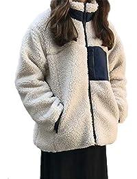 YeeNoke レディース コート ボアブルゾン ボアジャケット ボアコート アウター フリース ボア ジャケット ブルゾン もこもこ 防寒 カジュアル エレガント ゆったり 暖かい