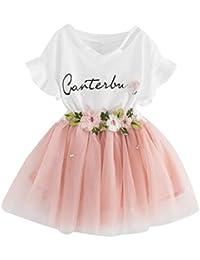 Yumiki 子供服 女の子 キッズ 二点セット 半袖 スカート チュールスカート 可愛い 花柄 フリル 英字 プレゼント 出産祝い カジュアル 普段着 お姫様 日常 柔らかい