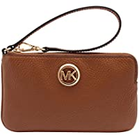 Michael Kors Women's Fulton Large Top Zip Leather Wristlet Clutch Wallet Luggage