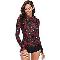 Caracilia Women UPF 50+ Zip Front Long Sleeve Top Rashguard Swimsuit Swim Shirt