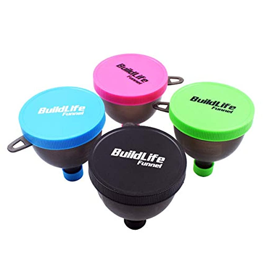 立派なかび臭い気をつけてBuildLife Fill Nゴーファンネル - プロテインファンネル - サプリメントファンネル - ウォーターボトルファネル - サプリメント用粉末容器、プロテインパウダー(4パック)