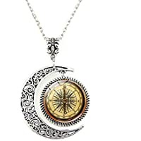 Crimyy Steampunk Compass Moon Pendant, Steampunk Compass Necklace,Vintage Compass Moon Jewelry, Moon Necklace Glass Art Picture