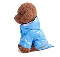 Pet Mall レインコート ドッグウェア 小型犬 中型犬/サイズS~XL / カラー4種 / 雨天 散歩 防水 防寒/犬 ペット服/安心安全 シンプル (ブルー: S)