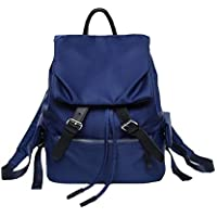 Fashion Solid Color Drawstring School Bag, Young Student Light Breathable Large Capacity School Bag, Girl Waterproof Nylon Backpack,Blue