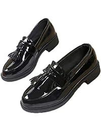 0072f4100c0416 おじ靴 レディース エナメル タッセルローファー オックスフォードシューズ ローファー 学生 女子 とんがり靴 ローヒールパンプス 歩きやすい 黒  マニッシュシューズ…
