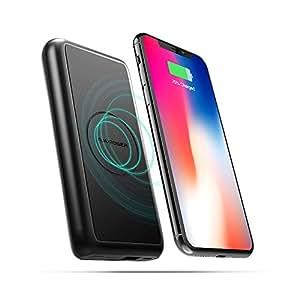 モバイルバッテリー RAVPower Qi ワイヤレス充電 5W急速充電 10000mAh 有線・無線両用 置くだけ充電 無線充電器 大容量 iPhone X/iPhone 8/8 Plus/Galaxy S8/Note 8など対応 RP-PB081