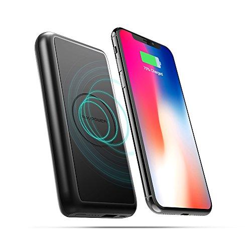モバイルバッテリー RAVPower Qi ワイヤレス充電 5W急速充電 10000mAh 有線・無線両用 置くだけ充電 無線充電器 大容量 iPhone X/iPhone 8/8 Plus/Galaxy S8 /Note 8など対応 RP-PB081