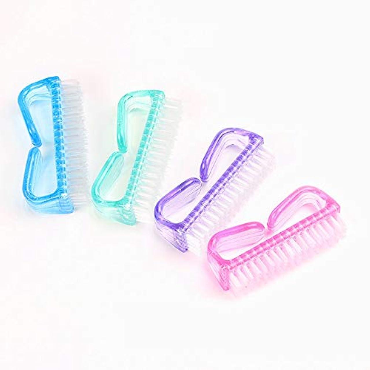 ウールオープニングバー爪ブラシ ネイルブラシ カラフル 全4色 4個セット