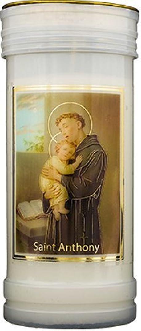 食器棚六月実際Saint Anthony Pillar Candle withゴールド箔ハイライト&ルルドPrayerカード