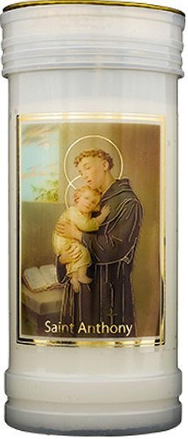 血色の良い工夫する記者Saint Anthony Pillar Candle withゴールド箔ハイライト&ルルドPrayerカード