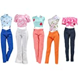 E-TING 5 Set Doll Clothes Outfit 5 Tops 5 Trousers Pants for Girl Doll Picture Style