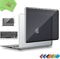 "ueswill 3in1光沢クリスタルクリアSee ThroughハードシェルケースwithシリコンキーボードカバーMacbook Air +マイクロファイバークリーニングクロス MacBook Air 13"" ブラック UES02C13A3-01"