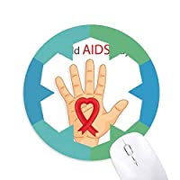 レッドリボン12月1日エイズエイズ認識 円形滑りゴムの雪マウスパッド