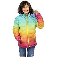 Kids Hooded Jacket Girls Rainbow Fur Parka School Jackets Outwear Coat 7-13 Year