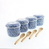 テーブルウェアイースト 選べる染付茶碗蒸し4点+スプーン4点セット (タコ唐草) 蒸し碗 和食器 食器セット