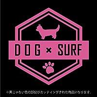 チワワ DOG × SURFステッカー ペット サーフィン カッティングシート シール(12色から選べます) (ピンク)