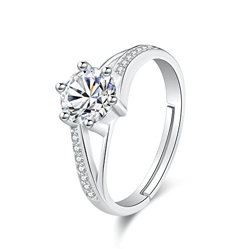 Coyogo s925シルバーレディース 婚約指輪 プロポーズリング 6本爪 大粒ダイヤモンド 個性的なデザイン 女性用 サイズ調整可