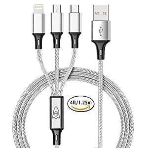 Yophets Micro usb ケーブル アンコーラ ライトニングケーブル USB Type-Cケーブル ライトニング 3in1 充電ケーブル 急速充電 マイクロusbケーブル 3A負荷可能 高耐久 編組ナイロンケーブル iOS / Android 同時給電可能 iPhone8 8plus 7 7 plus / 6 6s plus / iPad / Macbook 1本3役 多機種対応 1.25M (銀)