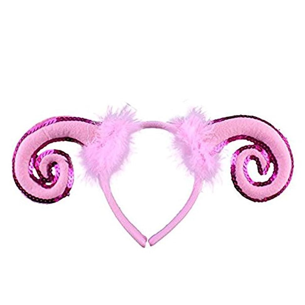 義務的立派な代表彼女は輝くかわいい羊の耳&ふわふわの装飾が施されたホーンヘッドバンド大人子供動物パーティーコスチュームヘアアクセサリー - ピンク